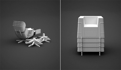 Dirk Winkel tasarimi Eames Lounge ve LeCorbusier sandalyesi